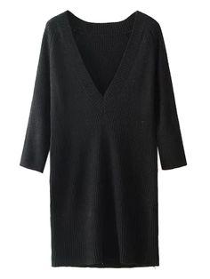 Black V-neck Long Sleeve Knit Sweater Dress