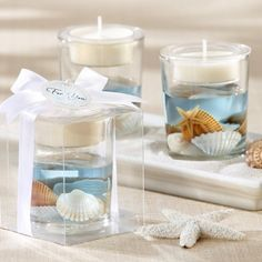 Ideal for a beach wedding or destination wedding reception, ocean seashell gel tea light candle holders make useful decorations and take home favors for your wedding guests. Candle Wedding Favors, Candle Favors, Beach Wedding Favors, Unique Wedding Favors, Tealight Candle Holders, Wedding Ideas, Candle Cups, Seashell Wedding, Wedding Gifts
