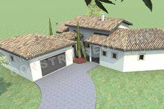 plan de maison en U mediterraneenne GALICE ciel garage