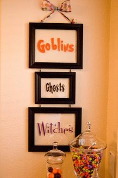 Halloween: connect frames together to hang....you could use dry erase markers and change the words to match the season. Or change with window clings. Cute!!