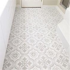 Stenciled tile floor using Cutting Edge Stencils DIY stencil patterns Stenciled Tile Floor, Bathroom Floor Tiles, Entryway Tile Floor, Small Bathtub, Small Bathroom, Master Bathroom, White Bathroom, Modern Bathroom, Bathroom Styling