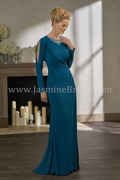 Jade Couture K198001 Jewel Neckline Mother Of The Bride Dress With A Gathered And Beaded