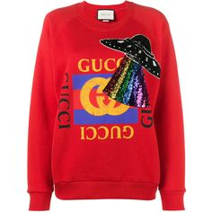 Gucci oversized embellished sweatshirt ($1,201) ❤ liked on Polyvore featuring tops, hoodies, sweatshirts, red, red top, decorated sweatshirts, embellished sweatshirt, gucci and oversized sweatshirt