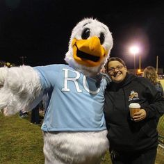 Squall the Seagull the official mascot of Rappahannock Community College greets a new friend made at Colonial Beach High School. #rappahannock #community #college #comm_college #football #fridaynightlights #colonialbeach #drifters
