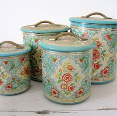 Jadeite and Rose Shabby Tin Canister Set