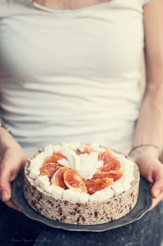 Coconut, orange and chocolate raw cake