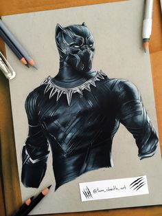 "tom-chanth: """"King of Wakanda"" - Black Panther Color pencils Drawing """