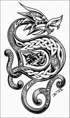 Celtic dragon tattoo shaped like a D letter - Google Search