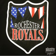 Hot Rochester Royals prints! #rochester #rochesterny #royals #sports #screenprinting #apparel #customapparel #custom #logo #graphicdesign #embroidery #tuesday #work #shield #print
