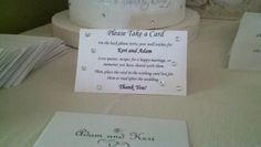 Well wishes cards that they can take with them and mail back or drop it in the wishing well.  Bride and groom were requesting love quotes, recipes or memories from their guests.  Great idea.