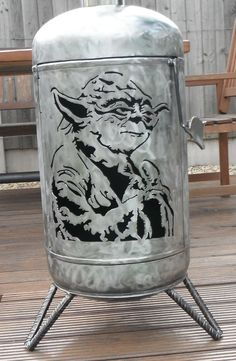 www.bbqlikeaboss.com Gas bottle log burner STAR WARS YODA Hand Crafted