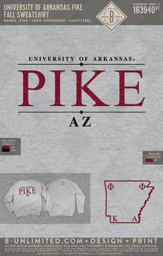 University of Arkansas PIKE fall sweatshirt! Fraternity Rush Shirts, Pi Kappa Alpha, Greek Shirts, University Of Arkansas, Crew Sweatshirts, Fall, Design, Autumn, Fall Season