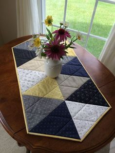 Nautical Quilted Table Runner Navy Blue Grey Yellow by seaquilt by lelia