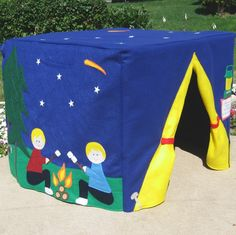 Starry Night Camp Site Card Table Playhouse, Personalized, Custom Order. $210.00, via Etsy.