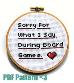 Cross Stitch Pattern and How-To Guide Sorry for by nerdstitchshop