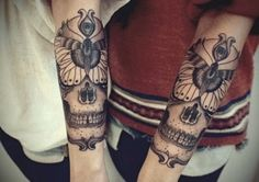 Forearm tattoos Ive been looking for some skulls with butterflies just like this! Awesome