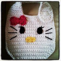 I made a HELLO KITTY bib for my god-daughter Crochet Baby Bibs, Crochet Baby Clothes, Love Crochet, Baby Knitting, Crochet Crafts, Crochet Yarn, Crochet Stitches, Baby Bibs Patterns, Bib Pattern