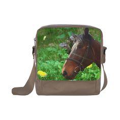 Horse and Grass Crossbody Nylon Bag. FREE Shipping. #artsadd #bags #horses