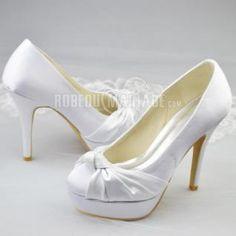 Satin chaussure de mariée pas cher fleur talon haut de 12cm [#ROBE208293] - robedumariage.com
