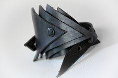 Black Harness Leather Triangles bracelet.