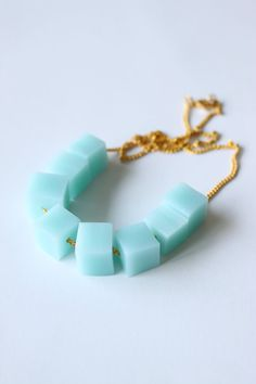 ice blue square necklace by reintroducedShop on Etsy