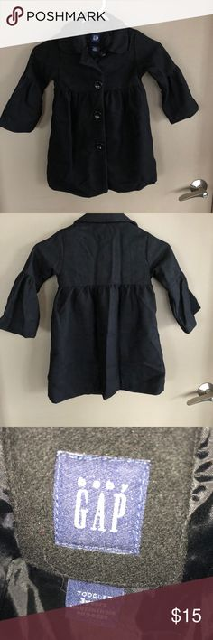 Baby Gap black Pea Coat Little girls black pea coat... needs some steaming has been sitting in a box for a little bit. Had only been worn a few times. baby Gap Jackets & Coats Pea Coats