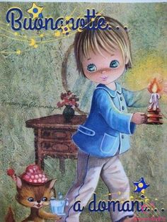 Vintage Big Eyed Boy Postcard - All About Decoration Good Night Friends, Good Night Quotes, Good Morning Good Night, Good Night Greetings, Good Night Messages, Goeie Nag, Storybook Cottage, Good Night Sweet Dreams, Little Kittens