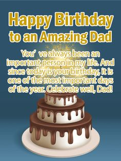 Happy Birthday Card for Father to Loved Ones on Birthday & Greeting Cards by Davia. It's free, and you also can use your own customized birthday calendar and birthday reminders. Birthday Greetings For Dad, Birthday Wishes For Brother, First Birthday Shirts, Father Birthday, Birthday Greeting Cards, Today Is Your Birthday, Happy Birthday Fun, Birthday Msgs, Birthday Board