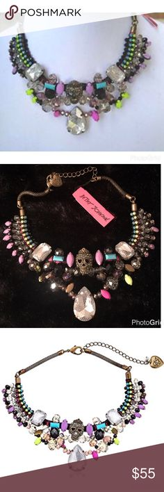 """Betsey Johnson Bead Skull & Stone Choker Necklace RARE Betsey Johnson Women's Stone Frontal Boost Multi w/ Skull Necklace Purple Multi Choker Necklace  Items that are handmade may vary in size, shape and color Brass tone necklace chain, pink cords with woven thread and blue and green colored crystal cups, crystal embellished skull, mesh wrapped faceted stones and mixed multi colored faceted beads.finish.  Crafted in dark brass-tone mixed metal.   Approx. length 16"""" including 3-inch extender…"""