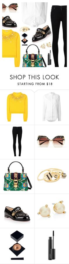 Outfit of the Day by dressedbyrose on Polyvore featuring Miu Miu, Anthony Vaccarello, Citizens of Humanity, Christian Louboutin, Gucci, Kate Spade, Noir Jewelry, Krewe, MAC Cosmetics and Serge Lutens Beauté