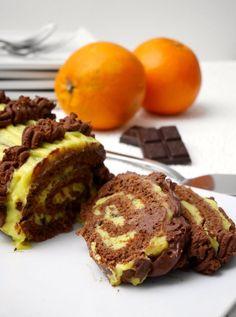 Rotolo al cacao con orange curd