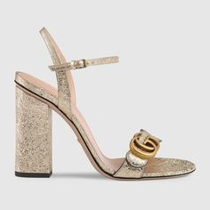 GUCCI Metallic laminate leather sandal - metallic laminate leather. #gucci #shoes #