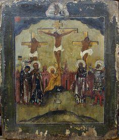 Старинная Икона «Распятие с разбойниками» середина XVIIIв., рис.1
