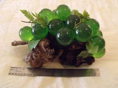 Lucite Green Grapes Large 15 Count Cluster Huge Driftwood Vintage Mid Century