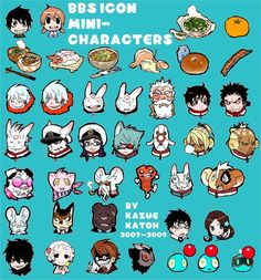 "While I was doing set up BBS in the old site, I've put together too late, the icon that has been established there.  When you write, you write to choose from ↑, I like the.      Character and the one-shot recording, and the character of Gil Usa is the main editing and ROBO short.  Food is my favorite food.  Kazue Kato ""Blue Exorcist""  旧サイトでBBSを設置してたんですが、そこに設置してたアイコンを、今更まとめてみました  書き込みする人は、↑のアイコンから、好きなのを選んで書きこむBBSだったのでした      短編集に収録の読み切りのキャラや、ロボとうさ吉のキャラなどがメインです  食べ物は私の好物であります"