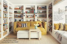 Lauren Liess' House in Domino.  table over part of upholstery ; Ikea butcherblock for shelves