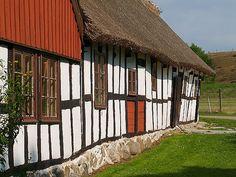 Skåne house row, Österlen, Sweden.