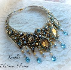 Beautiful embroidered jewelry by Kate Blinova   Click on link to see more - http://beadsmagic.com/?p=7133