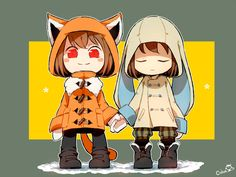 Undertale Chara (fox) and Frisk (bunny) in winter coats Kinda like zootopia :) Undertale Gaster, Undertale Ships, Undertale Cute, Undertale Fanart, Frisk, Chara, Sans Cute, Rain Art, Toby Fox