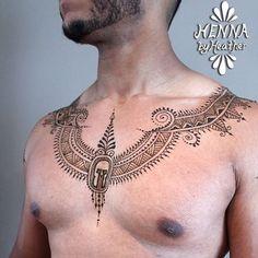 """Menna"" Trend Has Men Wearing Beautifully Complex Henna Designs All Over Their Bodies Men Henna Tattoo, Henna Men, Sweet Tattoos, Dream Tattoos, Tattoos For Guys, Tatoos, Body Painting, Shoulder Henna, Back Henna"