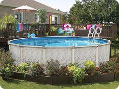 Above Ground Pool Landscaping, Backyard Pool Landscaping, Swimming Pools Backyard, Landscaping Ideas, Backyard Ideas, Tropical Backyard, Best Above Ground Pool, Above Ground Swimming Pools, In Ground Pools