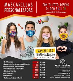 Mascarillas personalizadas. Compra y personaliza mascarillas con tus propios diseños. Mascarillas faciales. Mascarillas personalizadas a todo color. Mascarillas sanitarias. Mascarillas baratas. Movie Posters, Promotional Giveaways, Colors, Film Posters, Billboard