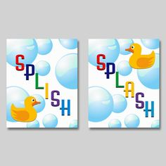 Bathroom Wall Art Print   Set Of Two   8x10 Inches   Splish Splash   Bubbles