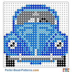 Volkswagen Beetle perler bead pattern. Download a great collection of free PDF templates for your perler beads at perler-bead-patterns.com