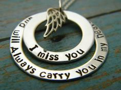 I Miss You And Always Will, Sterling Silver Custom Made Personalized My Angel Remembrance Memorial Keepsake Mommy Name Necklace Angel Wings on Etsy, $57.00