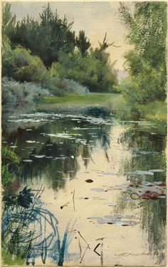 nouveaufindesiecle:  firefluff:  A Natural Landscape by Anders Zorn    b.1860 - d. 1920