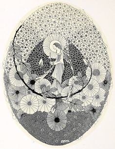 """The Year's at the Spring ~ 1920 ~ Harry Clarke  To The Coming Spring  """"With magic key... unlocking buds  that keep the roses""""    http://artofnarrative.blogspot.com/2011/11/harry-clarke-years-at-spring.html"""