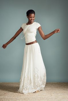 Niut Embellished Silk Maxi Skirt.