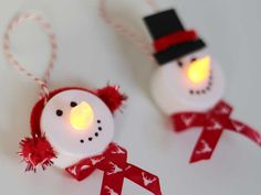 Diy For Kids, Crafts For Kids, Arts And Crafts, Kids Christmas, Christmas Ornaments, Light Crafts, Winter Art, Tea Lights, Snowman