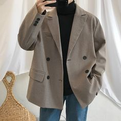 Business Casual Suit Jacket, Blazers For Men Casual, Casual Blazer, Plaid Blazer, Blazer Outfits Men, Stylish Mens Outfits, Cute Casual Outfits, Fashion Outfits, Casual Clothes